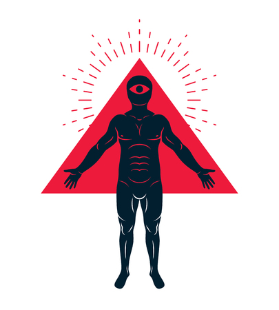 Vector illustration of diverse individual, mystic character created with triangular shape and an all-seeing eye inside. Mason metaphor. Illustration
