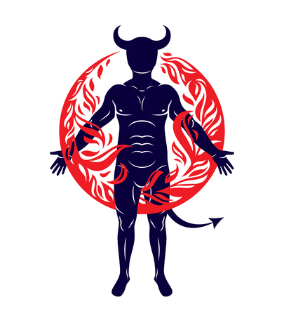 Athletic horned man surrounded by a fireball. Vector illustration of mystic infernal demon, evil Lucifer. Illustration