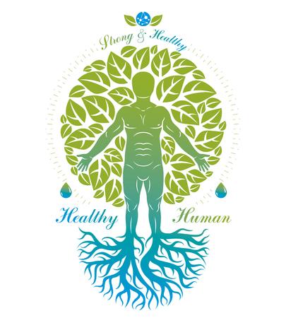 개인, 신비한 캐릭터의 나무 뿌리와 나뭇잎으로 구성 된 벡터 일러스트 레이 션. 채식 생활 개념입니다.