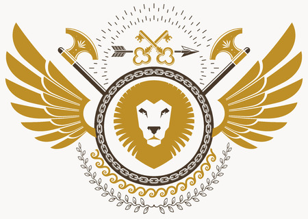 Luxury heraldic vector emblem template made using bird wings, wild lion illustration and armory