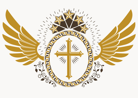 Heraldic sign made using vector vintage elements, bird wings, Christian religious cross and pentagonal stars.