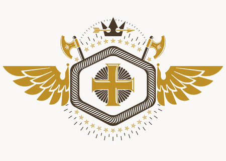 Heraldic sign made using vector vintage elements, bird wings, religious cross and armory. Illustration