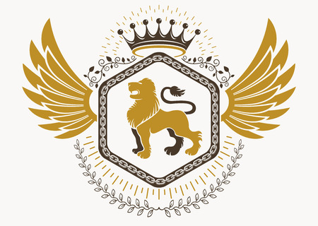 Heraldic sign made using vector vintage elements, bird wings, wild lion illustration and royal crown.