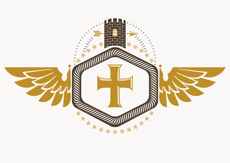 Heraldic sign made using vector vintage elements, bird wings, religious cross and castle.