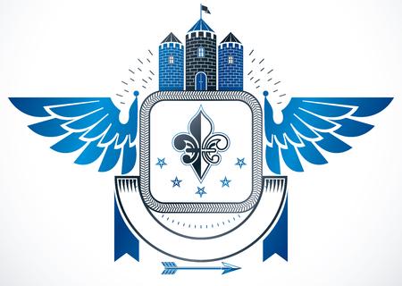 Vintage award design, vintage heraldic Coat of Arms. Vector emblem composed using medieval castle, lily flower and pentagonal stars.