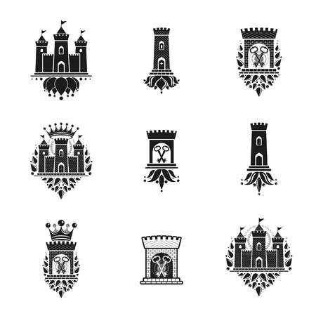Ancient Fortresses emblems set. Heraldic Coat of Arms, vintage vector logos collection.