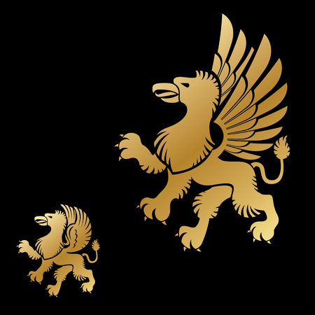 ancient lion: Winged Gryphon, mythical animal ancient emblems elements set. Heraldic vector design elements collection. Retro style label, heraldry logo.