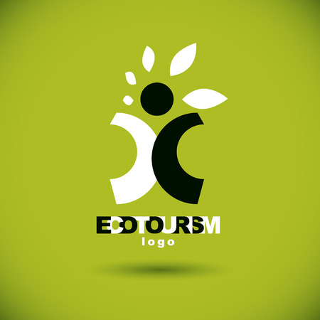Vector illustration of excited abstract  man with raised reaching up. Ecotourism conceptual logo. Wellness and harmony symbolic symbol. Illustration