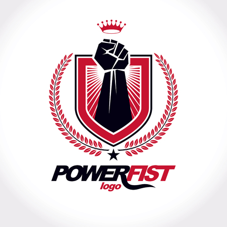 Vector symbol created using raised fist of a muscular man, laurel wreath and royal crown.  Fighter club conceptual logo.