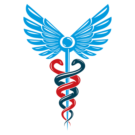 science symbols metaphors: Caduceus medical symbol, graphic vector emblem created with wings and snakes.