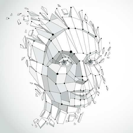 Intelligente Person und Geist Konzept, menschlichen Kopf explodiert und bricht in mehrere fractures.3d Vektor-Illustration von nachdenklichen Frau Gesicht in Low-Poly modernisierten Stil und mit Linien geschaffen Netz. Standard-Bild - 85271474