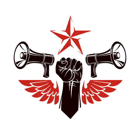 Decorative vector emblem composed with muscular raised clenched fist, bird wings and loudspeakers. Power of social message, revolution idea symbol can be used as tattoo. Illustration