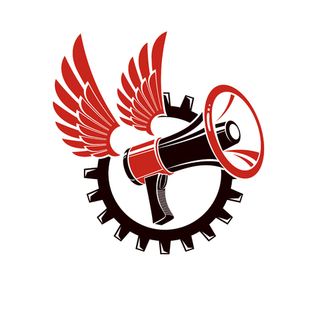 Vector winged illustration composed with megaphone equipment surrounded by engineering cog wheel. Proletarian revolution abstract sign, political propaganda.