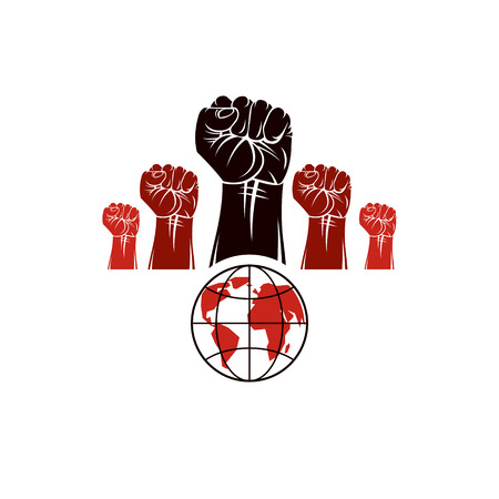 conflictos sociales: Clenched fists of angry people vector emblem composed with Earth globe symbol. Civil war abstract illustration. Social revolution concept. Vectores