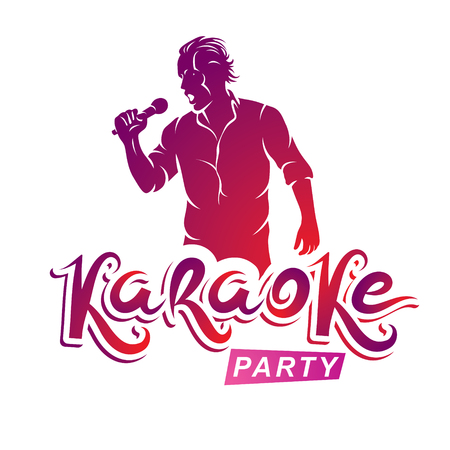 soloist: Happy man with microphone sings karaoke, live music concert vector invitation leaflet. Karaoke party writing. Illustration