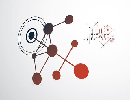 Carta da parati di vettore di ingegneria di ingegneria realizzato con cerchi e linee moderni di forme geometriche di modellazione può essere utilizzato come modello e Psichedelico astratto sfondo tecnico Vettoriali