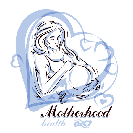 Elegant pregnant woman body silhouette drawing. Vector illustration of mother-to-be fondles her belly. Pregnancy assistance center promotion mock up Illustration