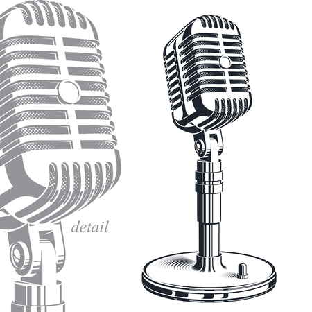 journalism: Recorder microphone vector illustration isolated on white. Entertaining and informational show studio microphones, social announcement.
