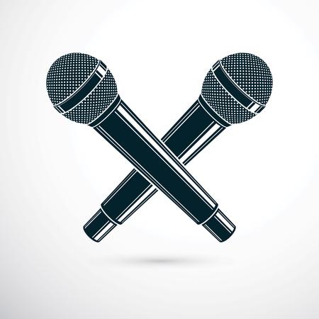 Twee gekruiste microfoons, vectorillustratie. Social media-invloed, uitzendconcept. Stock Illustratie