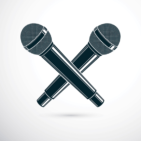 live stream tv: Two microphones crossed, vector illustration. Social media influence, broadcasting concept.