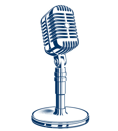 Recorder microphone vector illustration isolated on white. Global broadcasting, journalism concept. Illustration