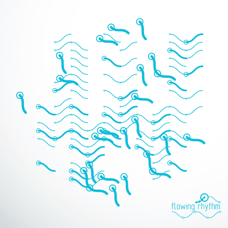Abstract wavy lines vector illustration. Technical cybernetic pattern can be used in web design and as wallpaper or background.