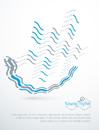 Abstract wavy lines rhythm pattern for use in graphic and web design. Vector technology flyer template. Illustration