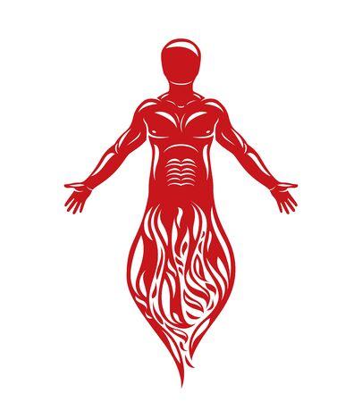 A Vector illustration of human being standing. Hephaestus creative metaphor. Illustration
