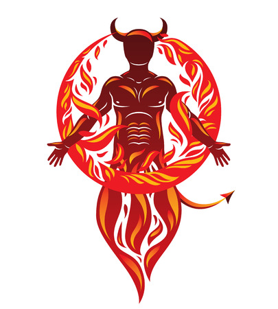 A vector graphic illustration of strong horned wicked male, body silhouette surrounded by a fireball. Demonic infernal creature, Satan.