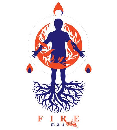 나무 뿌리, 불 덩어리로 덮여 강력한 에너지의 무리로 화재 사람으로 구성 된 운동 남자의 벡터 일러스트 레이 션.