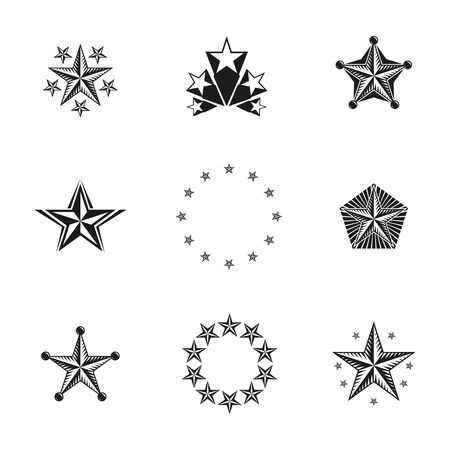 five stars: Ancient Stars emblems set. Heraldic vector design elements collection. Retro style label, heraldry logo. Illustration