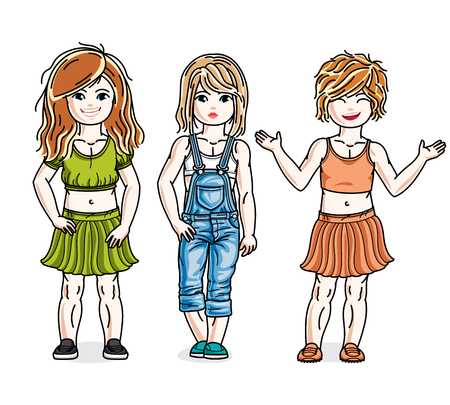 skirts: Beautiful little girls group posing wearing fashionable casual clothes. Vector kids illustrations set.