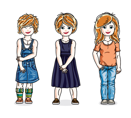 skirts: Beautiful little girls group posing wearing casual clothes. Vector kids illustrations set.