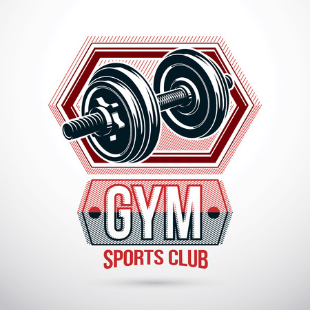 Fitness club graphic  vector emblem composed using dumbbell with weight discs.