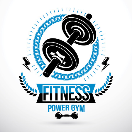Bodybuilding weightlifting gym vector emblem sport club created using dumbbell sport equipment and lightning, symbol of strength.