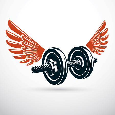 Dumbbell with disc weight vector illustration created using wings. Cross fit and bodybuilding sport equipment for pumping and fitness workout. Illustration