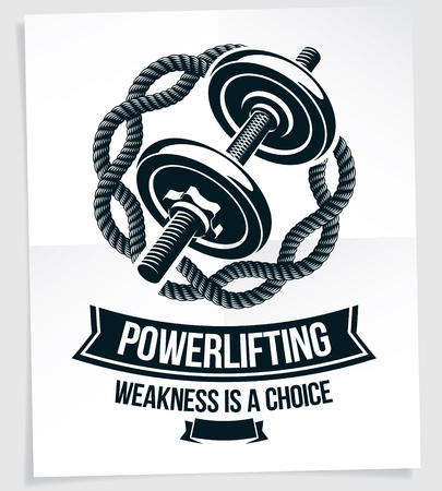 Bodybuilding championship vector advertising leaflet composed using weight disc dumbbell. Weakness is a choice quote. Illustration
