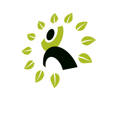 A Vector illustration of excited abstract  man with raised reaching up. Go green idea creative logo. Ecotourism conceptual icon. Downshifting symbol.