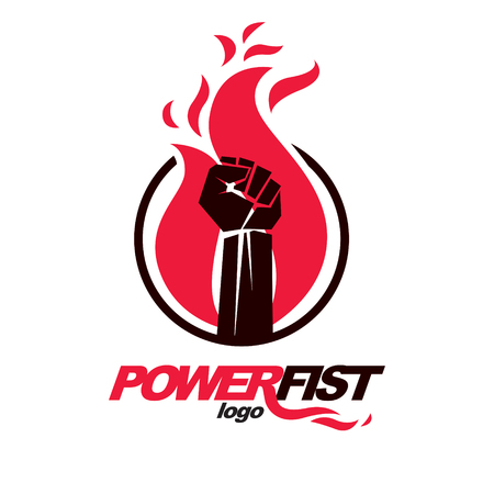 A Vector illustration of clenched fist in the burning fire. Power and authority conceptual logo Illustration