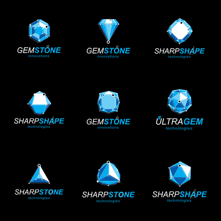 3d vector digital wireframe objects created with lines mesh. Low poly shapes collection, lattice forms. Set of gemstone icons. Graphic design.