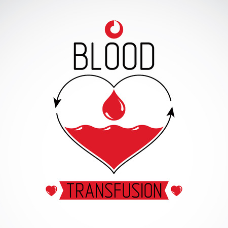 Blood donation and blood transfusion concept vector symbol created with red heart shape with arrows and blood drops. Hematology theme, medical treatment design emblem.