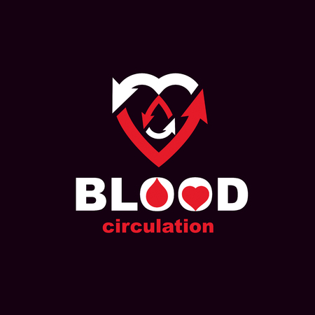 med: A Vector red heart with blood circulation inscription with direction arrows. Blood transfusion metaphor, medical care emblem for use in pharmacy.