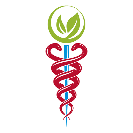 poison sign: Aesculapius vector abstract illustration created using snakes and green leaves, Caduceus symbol. Healthy lifestyle is strong heart.
