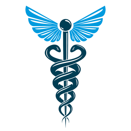 science symbols metaphors: Aesculapius vector abstract emblem composed using wings and snakes best for used in pharmacy advertisement.