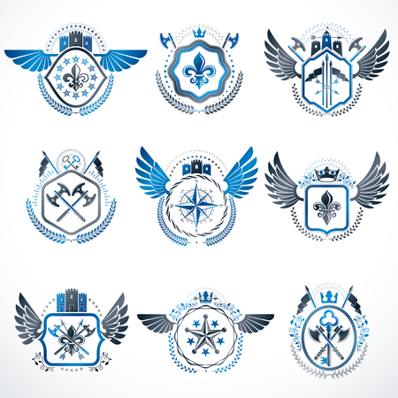 five stars: Set of vector vintage emblems created with decorative elements like crowns, stars, bird wings, armory and animals.  Collection of heraldic coat of arms.