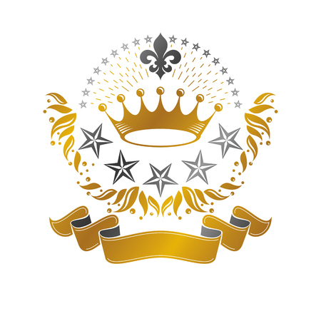 royal person: Majestic Crown emblem. Heraldic Coat of Arms decorative logo isolated vector illustration. Ancient logotype on white background.