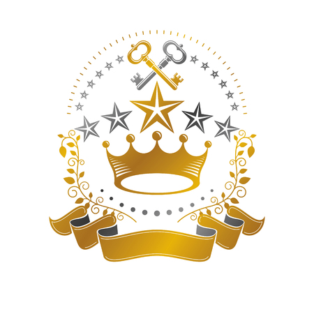royal person: Majestic Crown emblem. Heraldic Coat of Arms decorative logo isolated vector illustration. Antique logotype on white background.