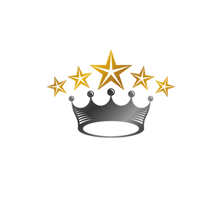 Royal Crown vector illustration. Heraldic decorative logo. Retro logotype isolated on white background.