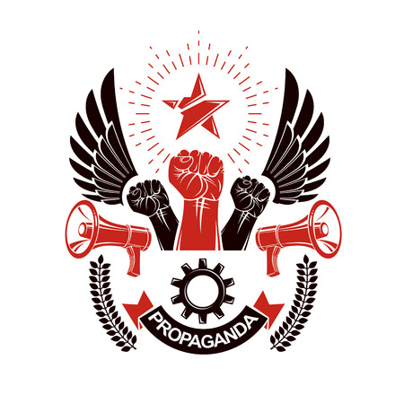 dictatorial: Vector leaflet created using clenched fists raised up, megaphone equipment and engineering cog wheel element. Dictatorship and manipulation theme, totalitarianism as the evil power.