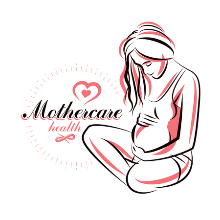 Vector hand-drawn illustration of pregnant elegant woman expecting baby, sketch. Pregnancy assistance center promotion mock up